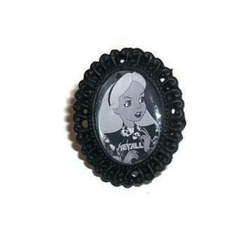 Alice In Wonderland Ring, Black Cameo, Alternative Disney Tattoo Alice Adjustable Ring