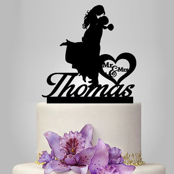 silhouette wedding cake topper, monogram cake topper, funny cake topper, bride and groom, mr and mrs in heart , personalize cake topper