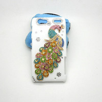 Handmade hard case for DROID RAZR MAXX: Bling peacock (customized are welcome)