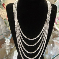 1940s Crown Trifari Necklace Multi Strand Necklace High Fashion Early Trifari  Chain Textured Twisted Rope Fancy Clasp Bride Bridal Wedding