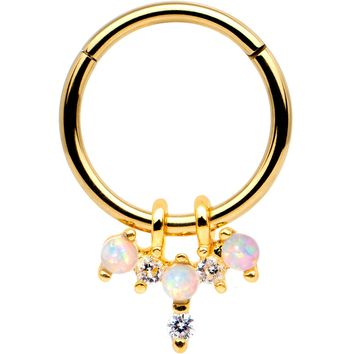 White Synthetic Opal Gold Tone Hinged Segment Ring Circular Barbell