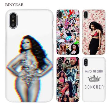 BINYEAE Nicki Minaj Clear Cell Phone Hard Case Cover for iPhone X 6 6s 7 8 Plus 5 5s SE 5c 4 4s