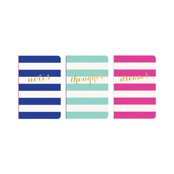 Set of 3 Wide Striped Pocket Journals