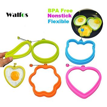 WALFOS 1 piece 100% FOOD GRADE Round silicone Egg Rings-Nonstick Silicone Egg Poacher - egg Form Mold tools baking tools