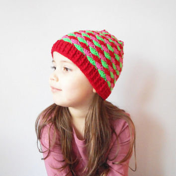 Girls Winter Skullcap Beanie in Christmas, ready to ship.