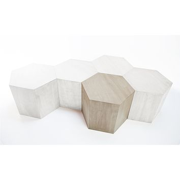 Hexagon Wood Modern Geometric Table- White Washed