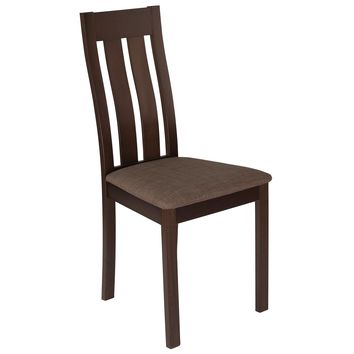 Milton Wood Dining Chair with Vertical Slat Back and Fabric Seat