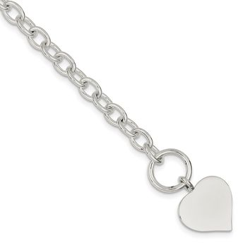 925 Sterling Silver Cable Chain Heart Toggle Bracelet - 5.5mm Toggle