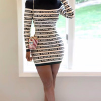 BALMAIN women's fashion casual long sleeve letter dress
