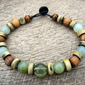 Mens surfer bracelet, green jade, horn and Bethlehem olive wood beads, tribal style, natural materials, strong cord, toggle and loop clasp