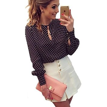 STYLEDOME Women Tops Casual O-Neck Long Sleeves Blouses Spring Summer Chiffon Polka Dots Shirt