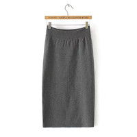 Gray Knitted Pencil Midi Skirt