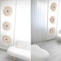"""Romantic Ivory sheer with Wild goose Feather Special decorated Drapery Panel 27.5""""W X 90.5""""L 1Panel Room Divider Living room, Bed room"""