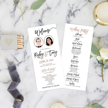 Wedding Programs Printed with Wedding Portraits, Fun Wedding Programs, Funny Ceremony Program - The Penny Set by Miss Design Berry