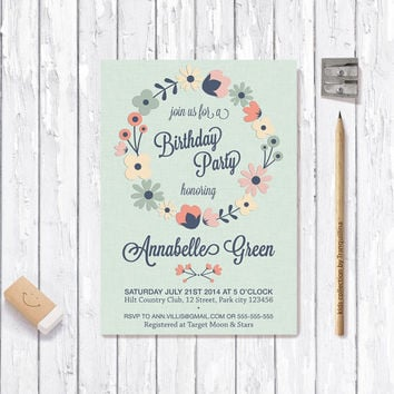 Floral Wreath Invitation Printable, Baby Shower / Birthday Invitation, Digital File - Mint