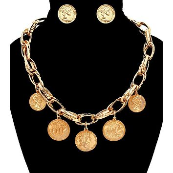 Coin with Chain Necklace Set