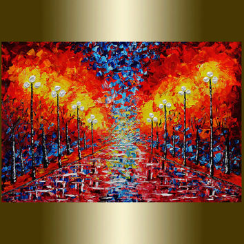 ORIGINAL Abstract Painting Contemporary Red Umbrella Oil Painting Heavy Palette  Acrylic painting SurrealLandscape.