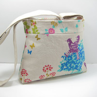 Bird Print Bag, Cross Body Bag, Cross Body Purse, Tote Bag with Adjustable Strap, in Japanese Canvas Bird and Floral Print, Ready to Ship