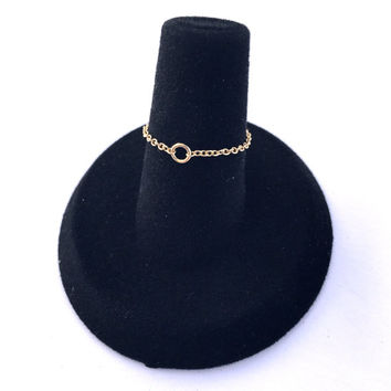 Dainty Small Gold Chain Ring / Thin Tiny Flexible Chain Ring