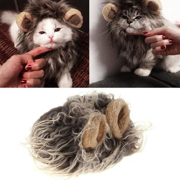 Cute Pet Costume Cosplay Lion Mane Wig Cap Hat for Cat Halloween Xmas Clothes Fancy Dress with Ears Pet Hair Accessories