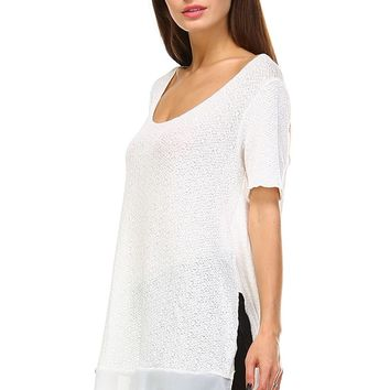 Ivory Side-Slit Scoop Neck Tunic - Women