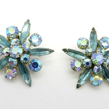 Vintage Judy Lee Earrings, Blue Rhinestone Cluster Star Gold Tone Clip-on Earrings