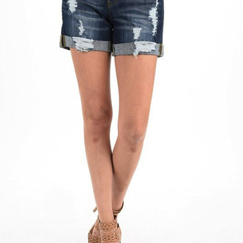 Dark Wash Destroyed Cuffed Denim Jean Shorts - SM(2/4)-3X(22/24)