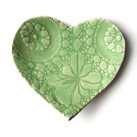 Love Heart Plate Hand built Lace Pottery Lime green stoneware Serving, ring bowl or soap dish Handmade cupcake plate Engagement gift ideas