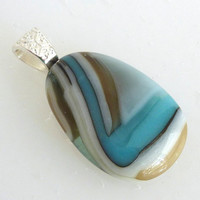 Turquoise and French Vanilla Layered Fused Glass Pendant