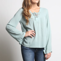 Kori America Sage Bell Sleeve Lace Up Top