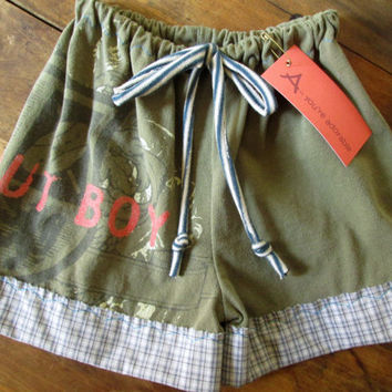 Baby Boy Shorts olive army green boxers diaper cover fall out boy FOB upcycled repurposed t shirt clothing ooak one of a kind 9 to 12 months