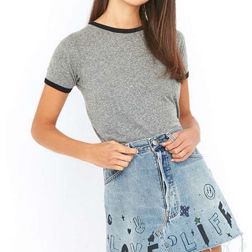 Urban Renewal Vintage Customised Printed Levis Denim Mini Skirt - Urban Outfitters