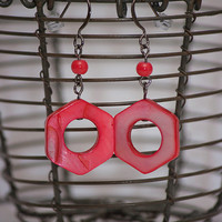 Handmade Red Hexagon Shaped Mother of Pearl Dangle Earrings