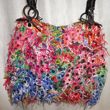 Handmade tote  bag , one of a kind, huipils with applique, shiny, cotton huipil. long shoulder bag.