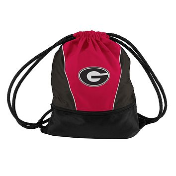 Georgia Bulldogs Mesh Back Drawstring Sprint Pack with Front Zippered Pocket
