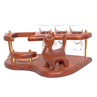 """Exclusive Wooden Mini Bar For Tequila or Vodka """"CAT"""". Hand Made, Interior Design, Home Decor, Office Decor"""