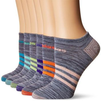 Adidas Women's Superlite 6 Pack No Show Socks Onix Clear Onix Space/easy Green/energy Ink Blue/lucid Red/frozen Yellow/energy Blue/haze Coralwomen's Sock Size (5 10)