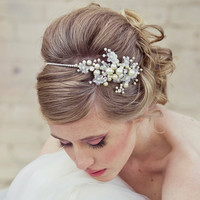 rhinestone tiara with flowers and ivory pearls by BeSomethingNew