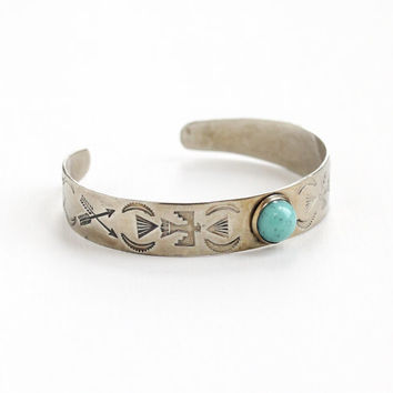 Vintage Sterling Silver Turquoise Cuff Bracelet - Retro 1960s Bird & Arrow Motif Blue Stone Native American Style Jewelry