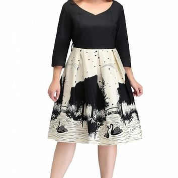 Plus Size Dresses Big Size Long Sleeve V Neck Swan Printed Elegant Knee Length Ball Gown Casual Summer Dress