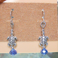 Sea Turtle Dangle Earrings Terrapin handmade jewelry Womens Girls hippie