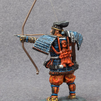Japanese Miniature Soldiers Samurai Bowman Medieval 12th Century 1/32 Scale Hand Painted Toy 54mm Tin Metal Figurines - Free Shipping
