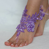 Lilac Beach wedding barefoot sandals, wedding anklet, FREE SHIP, Bridal Lace Sandals wedding gift bridesmaid sandals Bridal anklet