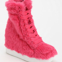 Jeffrey Campbell Troll Fur Hidden Wedge Lace-Up Boot - Urban Outfitters