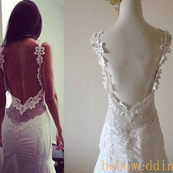 Ivory low back unique floral lace chiffon sexy low back wedding dress 2014