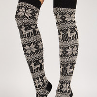 Holiday Print Thigh High Socks