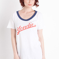 Blondie Script CutOut Tee in White by Chaser LA at TAGS