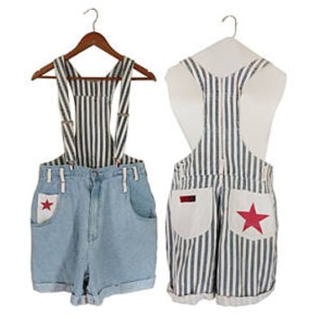 Women Denim Overall Shorts Suspender Shorts Red White and Blue Denim Shortall Denim Bib Overall Short 90s Overall Blue Jean Overall Over All