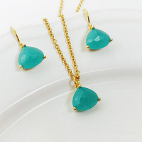 Mint Jewelry - Prom Jewelry - Wedding - Mint Green - Turquoise Jewelry - Gold Triangle - Simple - Jewelry Gift - Jewelry Set - 24k Gold