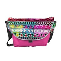 Pink Purple Bright Andes Abstract Aztec Pattern Courier Bag